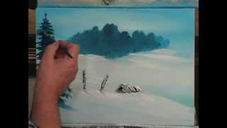 Art Students:  This Painting Lesson Shows How To Teach A Child To Paint An Acrylic Snow Scene.