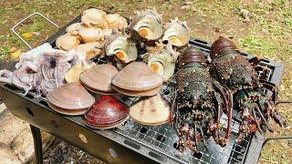 BBQコンロいっぱいの海鮮大人BBQ‼豪華食材を焼きまくる‼