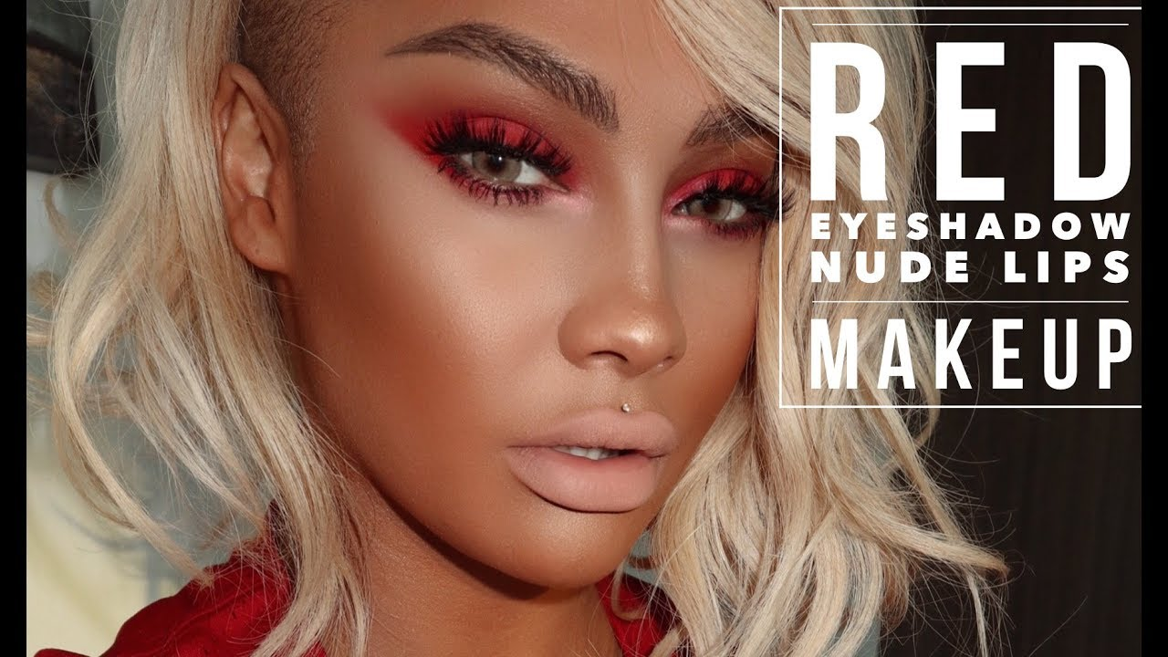 Hot Fire Makeup Tutorial Red Smokey Eye Shadow, Nude Lips -3344