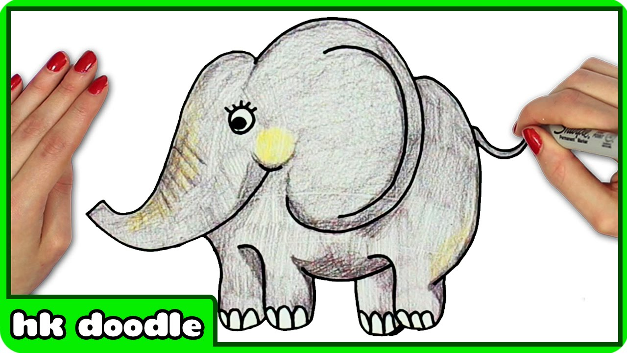 how to draw an elephant for kids easy step by step drawing