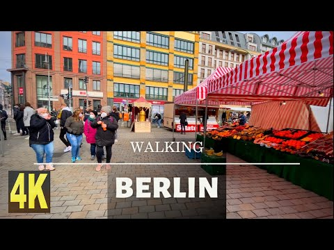 Walking Germany 🇩🇪. Walking Berlin 🇩🇪. Hackescher Markt. Weekend market in Berlin.Hackesche Höfe