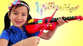 Jannie y Wendy Fingen a Tocar el Violín y Piano |Canciones Infantiles Para Niños