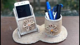 Mobile Phone Holder And Pen Holder with Jute   DIY Mobile Stand making from waste jute And Cardboard