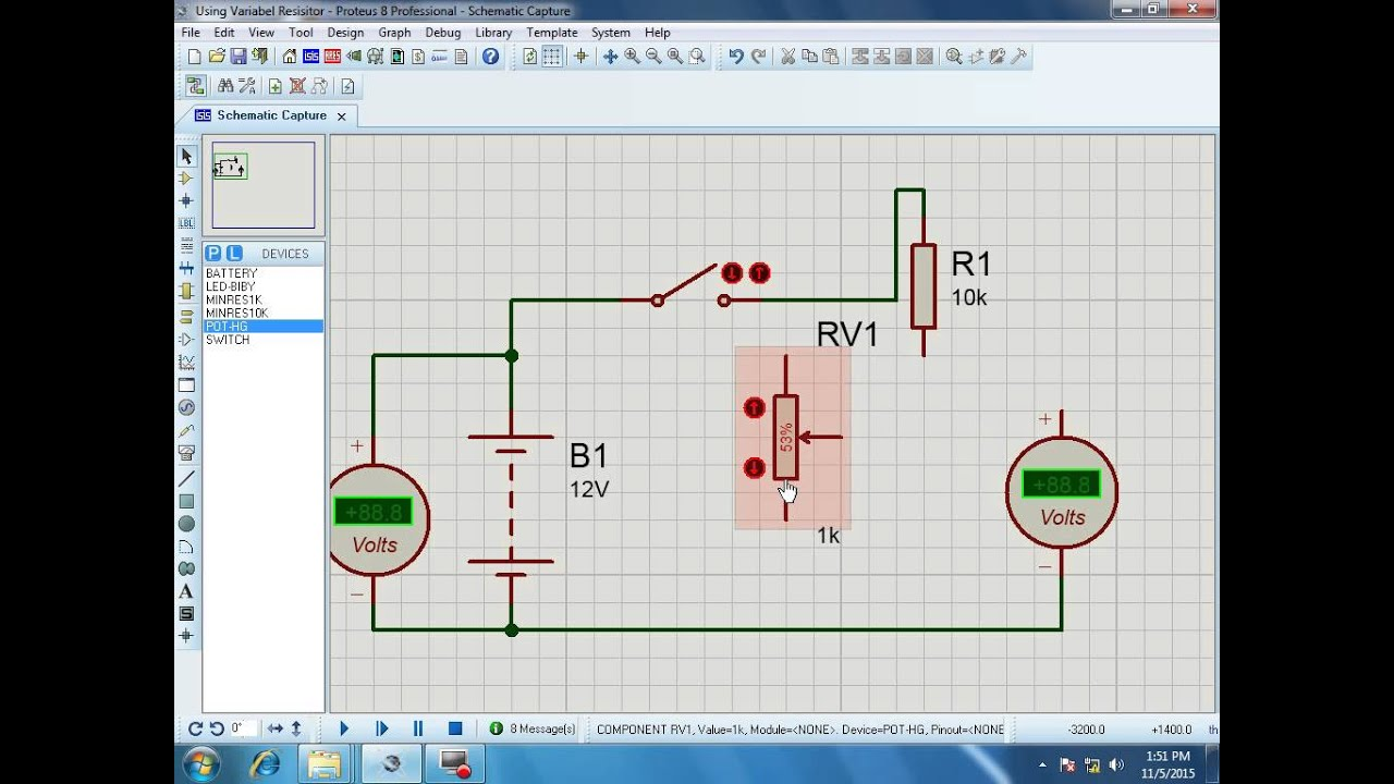 Tutorial Proteus 3 How To Use Variabel Resistor Simulator That Allows You Control And Vary The Resistance It