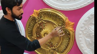 How to Assemble Modern Ceiling medallion antique Colour & Amazing silver Gold  OIL Painting 4K- Ep-1
