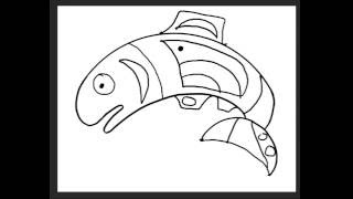 Abstract Native American Salmon Age 4-6