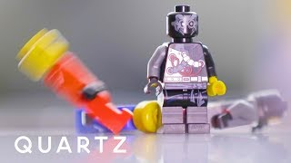 Knocking down Lego figures with sound