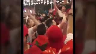 جماهير مغربية في موسكو تحتفل مع الروس بالفوز على منتخب مصر - صحيفة صدى الالكترونية