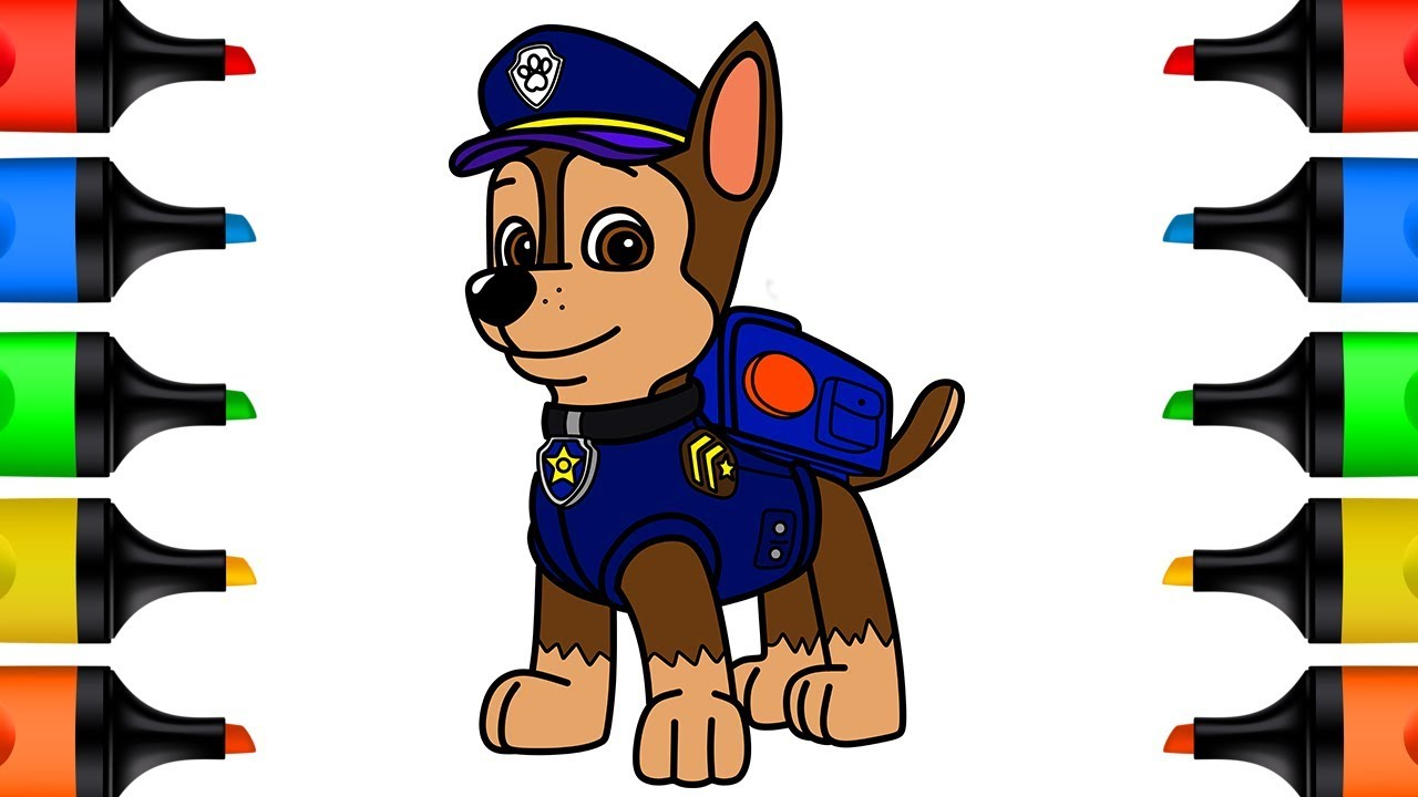 How to Draw Paw Patrol Chase Coloring Pages for Kids ...