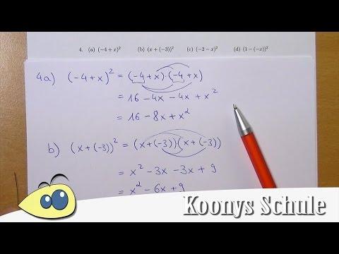 Binomische Formeln mit unangenehmen Minussen - 4 Aufgaben ...