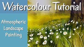 Step By Step Watercolour Landscape Painting Sunlit Trees & White Flowers
