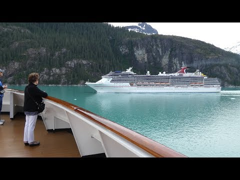 Carnival Legend in Alaska Endicott Arm Cruising Past Holland America Amsterdam (4K)