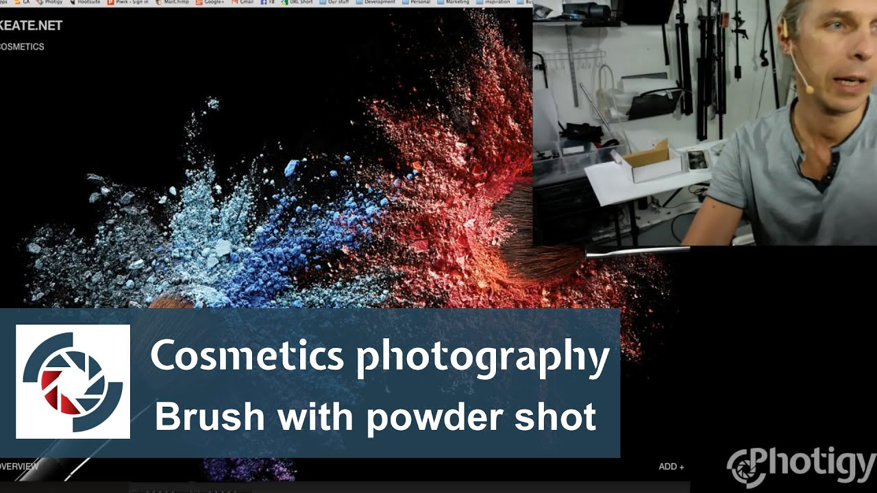 cosmetics photography assignment brush with powder shot