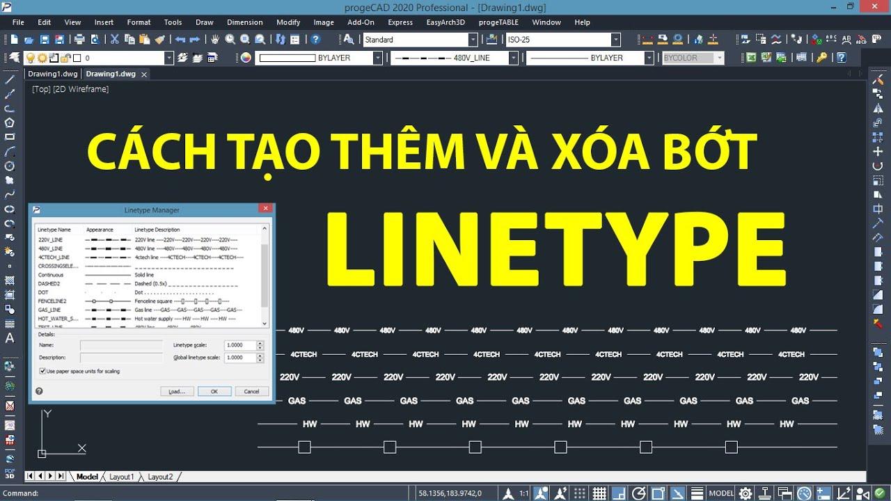 Cách tạo thêm, xóa bớt đường LineType trên progeCAD | Create Line Type on progeCAD