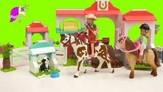 Schleich Girl Goes To Mega Bloks American Girl Nicki's Horse Stables for Trail Ride - Honeyheartsc