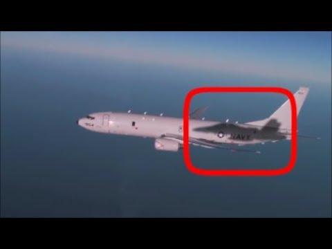 Russian Su-30 Jet Intercept US P-8A Submarine Killer Over Black Sea Causing Roll 15 Degrees.