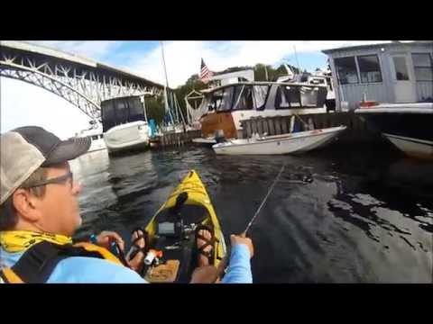 Kayak Fishing for Smallmouth Bass   Lake Washington and Union   July, 2016