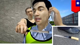 Cop's neck slashed by knife wielding mental patient in Taiwan, rookie cop survives - TomoNews