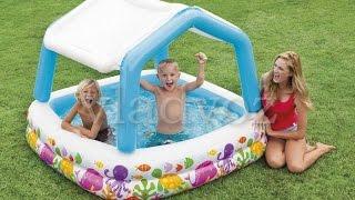 Детский надувной бассейн 57470 intex аквариум +съёмная крыша обзор от vladvoz.in.ua