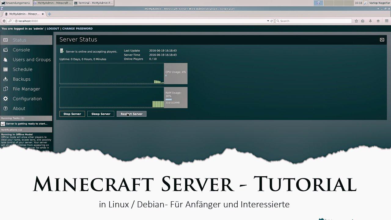 TutGer MineCraft Server Installation Debian Bit Linux - Minecraft server auf linux erstellen