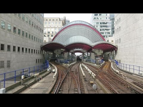London. Riding the DLR train from Lewisham to Bank via Canary Wharf
