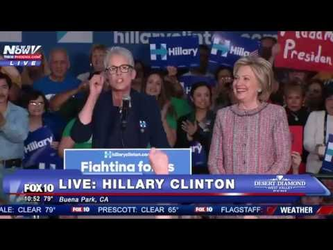 MUST WATCH: Jamie Lee Curtis  PASSIONATE Speech at Hillary Clinton Event  Talks About Woman Card