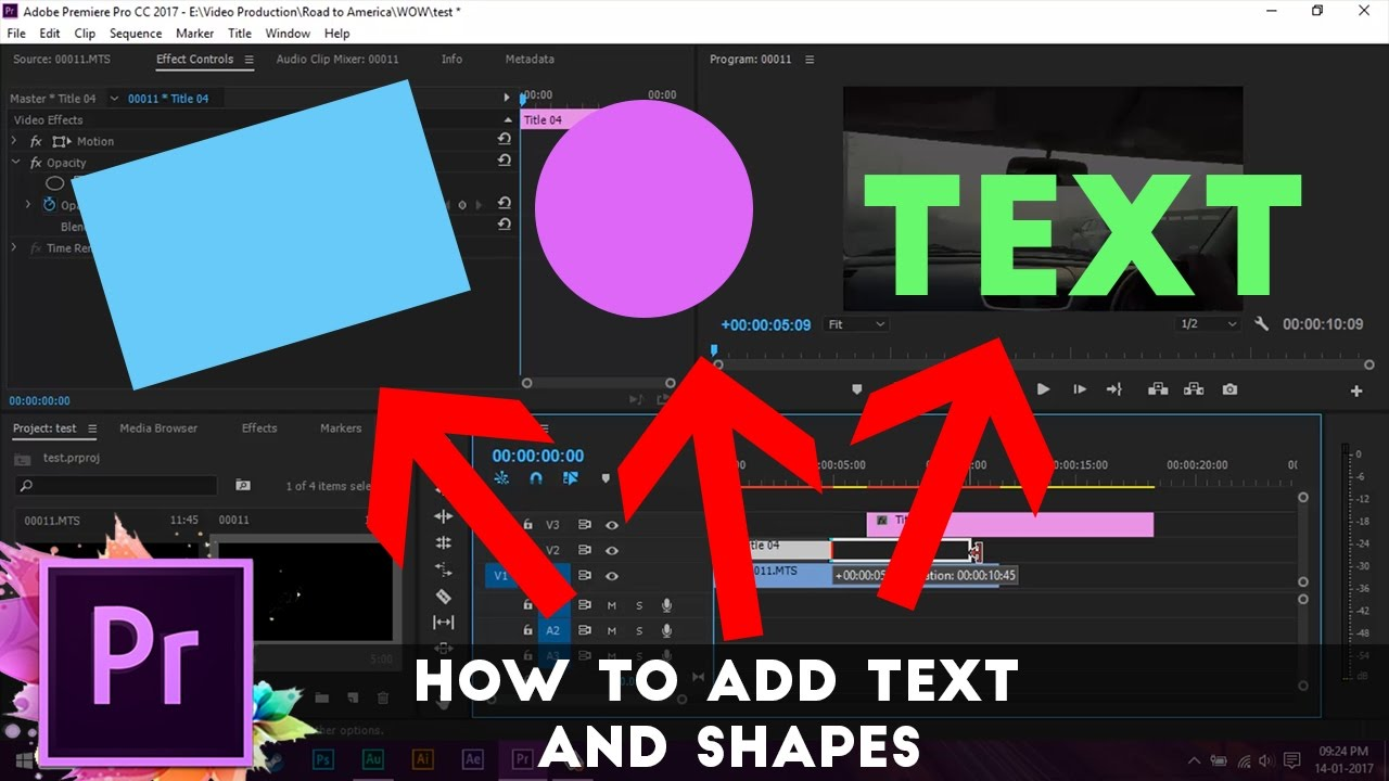 How to add text and shapes in adobe premiere pro beginners how to add text and shapes in adobe premiere pro beginners tutorial ccuart Choice Image