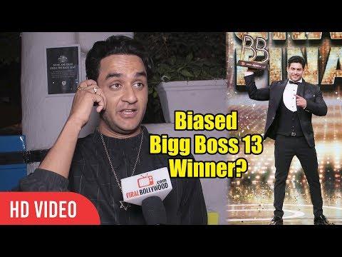 Vikas Gupta Reaction On Biased Bigg Boss 13 Winner Sidharth Shukla