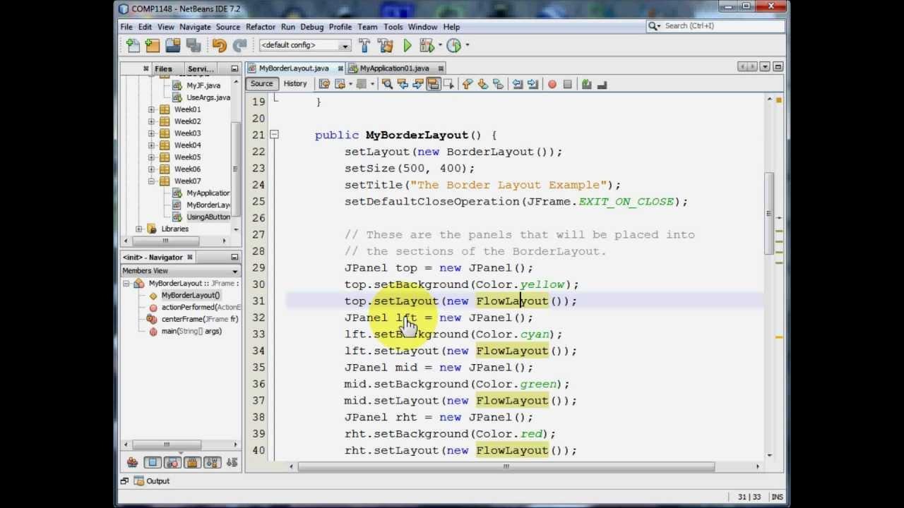 Java GUI - Using the BorderLayout