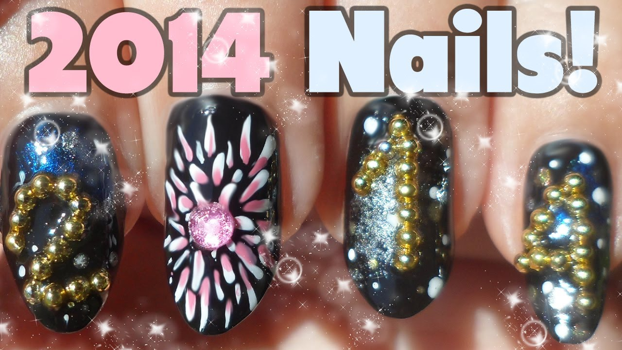 3D 2014 Caviar & Fireworks Nail Art Tutorial - YouTube