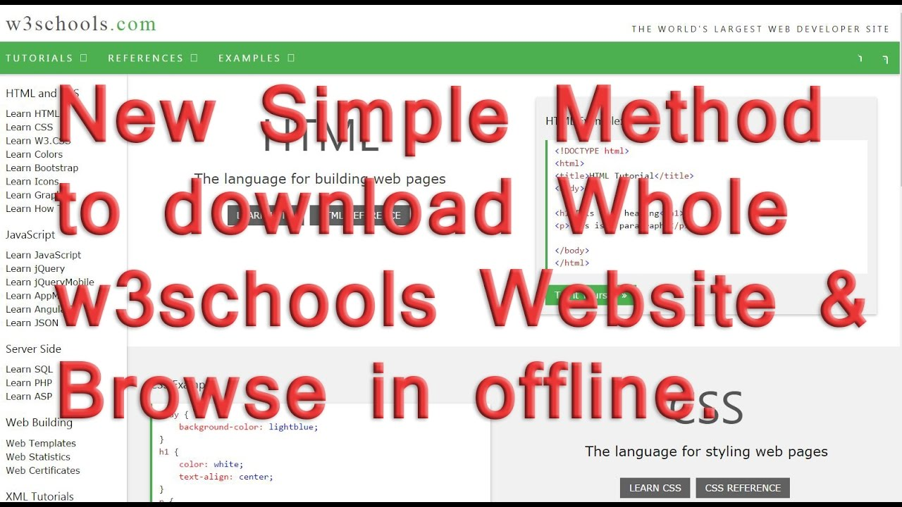 Web colors w3schools - How To Download A Whole W3schools Website And Browse Without Internet Connection