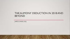 The Alimony Deduction in 2019 and Beyond