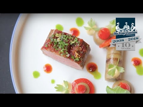 2 Michelin Star Chef Rolf Fliegauf Creates Lamb From Romandie With Peppers And Aubergine
