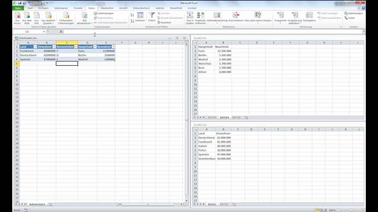 Excel 2010: Excel-Tabellen mit SQL/Query auslesen Teil1 - YouTube