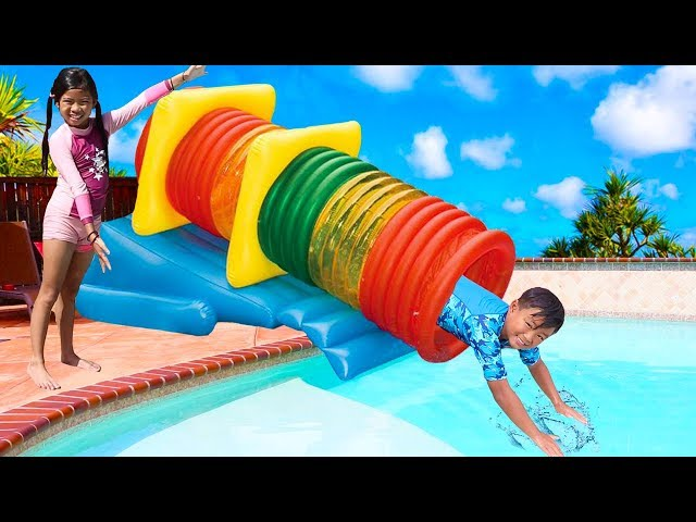 Emma Play With Fun Swimming Pool Tube Water Slide For Kids Video Youtube