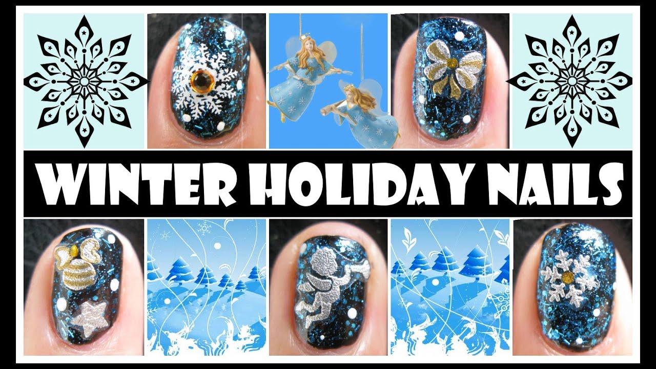 winter holiday nails snowflake