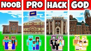 Minecraft: FAMILY SCHOOL BUILD CHALLENGE - NOOB vs PRO vs HACKER vs GOD in Minecraft