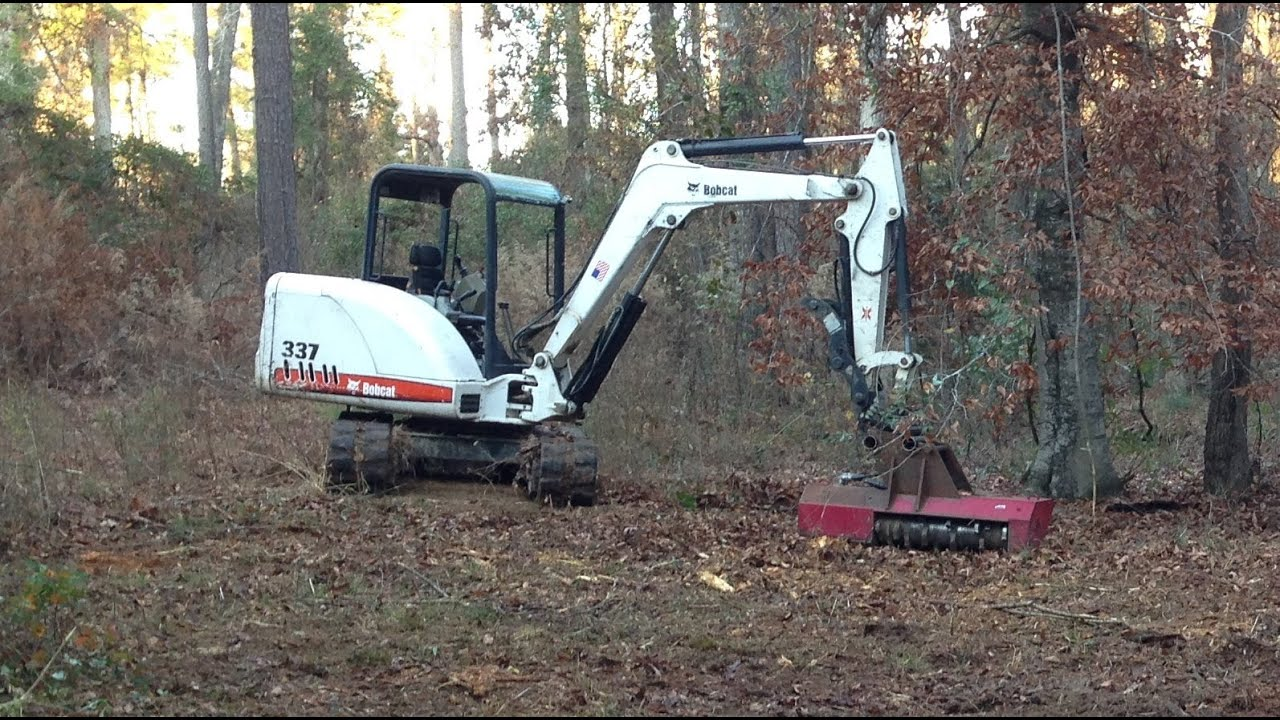 Bobcat Mini Excavator With Torrent Mulcher Clearing Small
