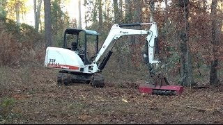 Bobcat Mini Excavator With Torrent Mulcher Clearing Small Trees Midi Ex 337 Trackhoe Mower Forestry