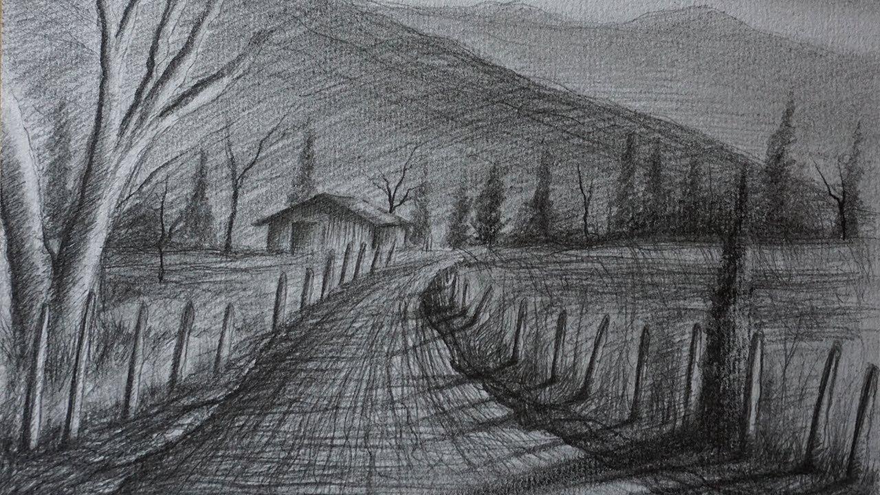 Cómo Dibujar Un Paisaje Rural A Lápiz Fácil Paso A Paso