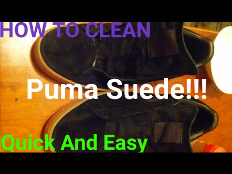 How to clean puma suede Black/gold with gum bottom