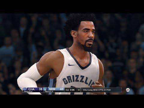 NBA LIVE 18 - Charlotte Hornets vs Memphis Grizzlies - 2nd Half - PS4 PRO 1080p - HD