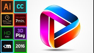 How to create 3D Logo Design in Adobe Illustrator CC | HD | Play Colors