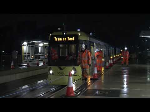 Trams On Test On The New Trafford Park Metrolink Line In Manchester