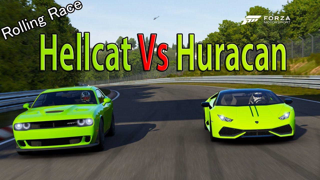Challenger Vs Challenger Hellcat >> Forza Motorsport 6 - DRAG RACE: Lamborghini Huracan Vs Dodge Challenger SRT Hellcat - YouTube