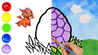 Dragon Egg Drawing and Coloring for Kids Painting for Toddlers  Happy Easter | Creative World
