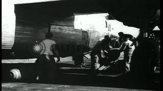 B-24 bomber of United States Army Air Force prepared with ammunitions for an oper...HD Stock Footage