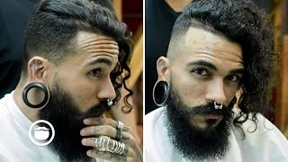 Long Wavy Disconnected Hair w/ Skin Fade and Beard Trim thumbnail