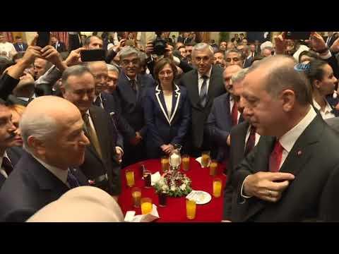 Cumhurbaşkanı Erdoğan, MHP Genel Başkan Yardımcısı Celal Adan Ile Rozetlerini Değiştirdi