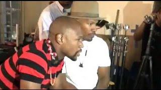 FLOYD MAYWEATHER AND JAMIE FOXX ON SET FOR NEW MOVIE